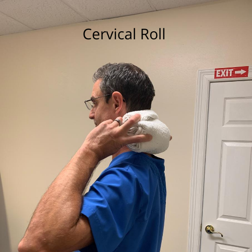 Use a rolled up towel to help create the C-curve in the neck to help alleviate chronic neck pain.